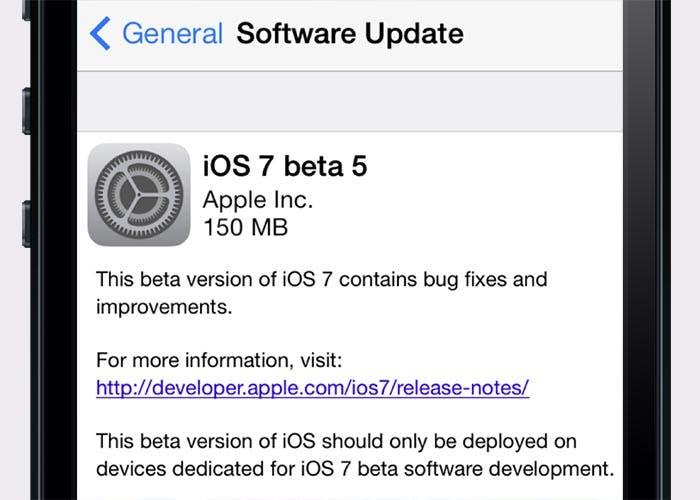 Aparece la beta 5 de iOS 7