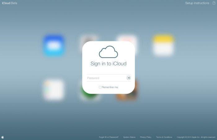 Inicio de sesión en iCloud