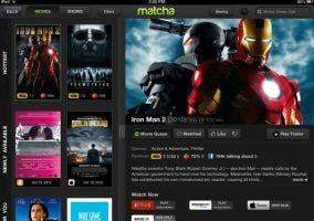 Aplicación de Matcha.tv en el iPad