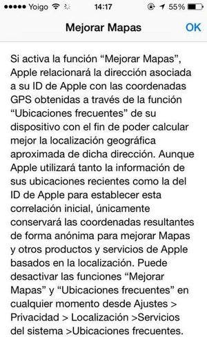 Opción voluntaria de mejora de mapas por el usuario en iOS 7