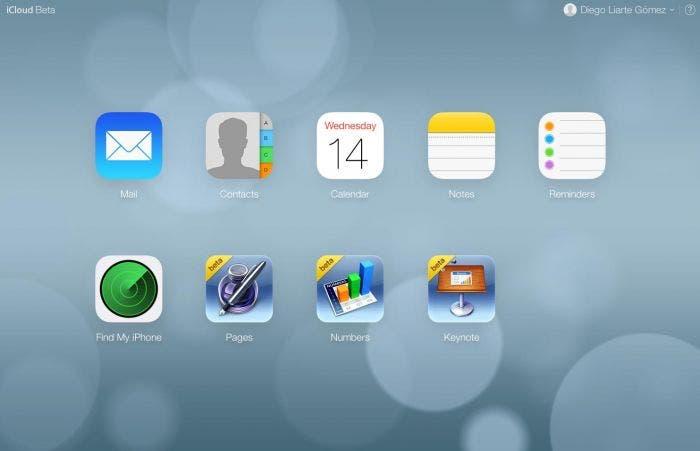 Inicio en iCloud.com beta