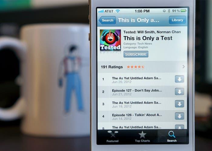 App de Podcast for iOS en pantalla