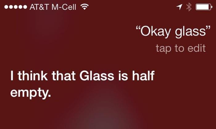 Respuestas de Siri a los comandos vocales de Google Glass