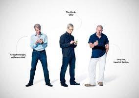 Tim Cook, Jony Ive y Craig Federighi de Apple