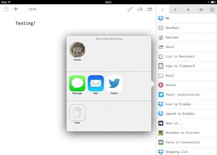 Compartir texto por AirDrop con Drafts
