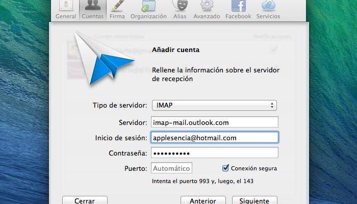 Configurando Outlook bajo iMAP