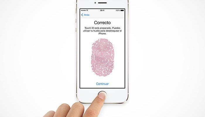 Pantalla de reconocimiento de huella de iOS 7