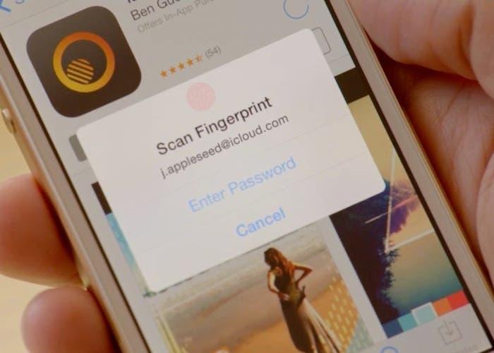En sensor reconociendo huella en la App Store