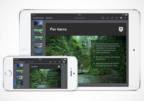 iPhone y iPad corriendo el nuevo Keynote