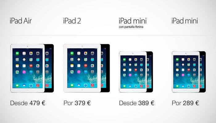 Precios de los iPad Air y iPad mini Retina