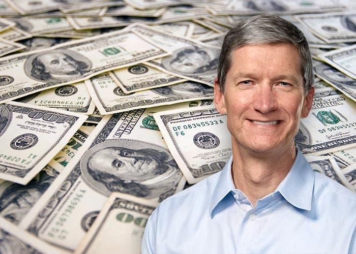 Tim Cook rodeado de dólares