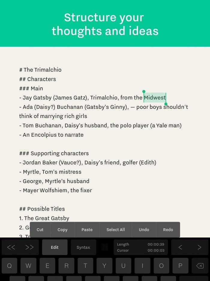 Writer Pro para iOS