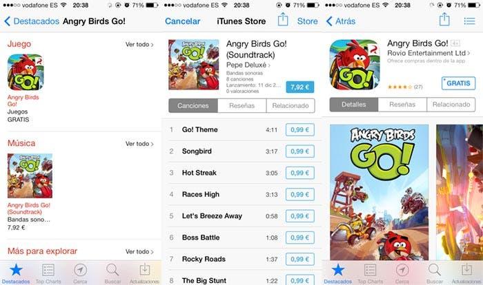 Contenido adicional de Angry Birds Go! en la App Store