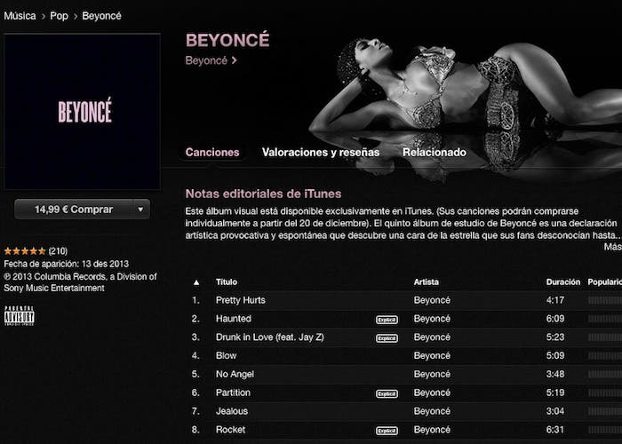 iTunes Store con Beyonce