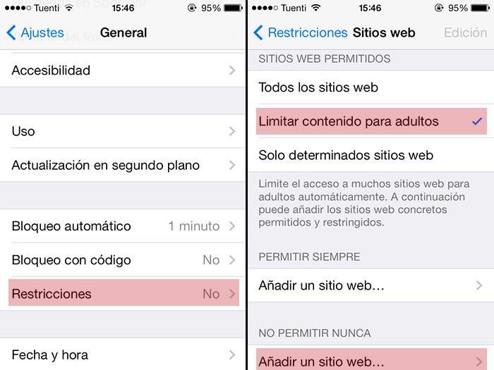 Como bloquear sitios web en Safari para iOS7
