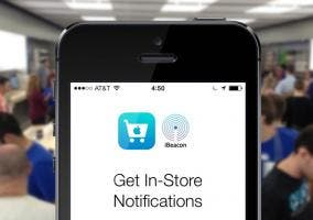 iPhone en una Apple Store con iBeacons