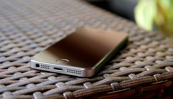 iPhone 5s sobre un cesto
