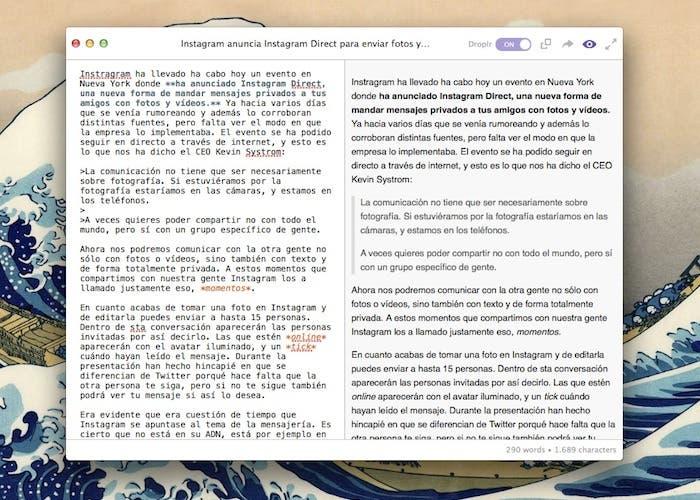 Editor Markdown para Mac e integrado con Droplr