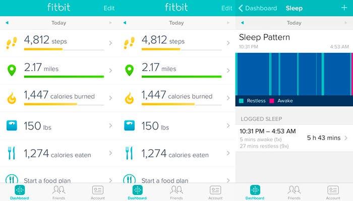 Captura de pantalla de Fitbit para iOS