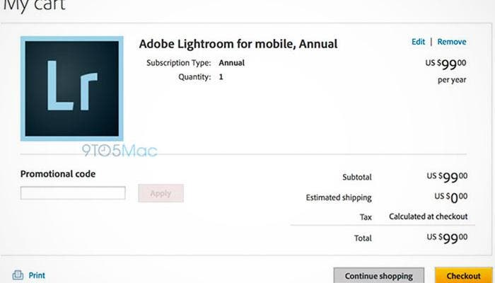 Se filtra lightroom para iPad