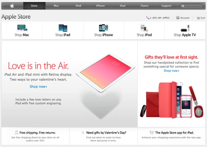 Apple Store acondicionada para San Valentín