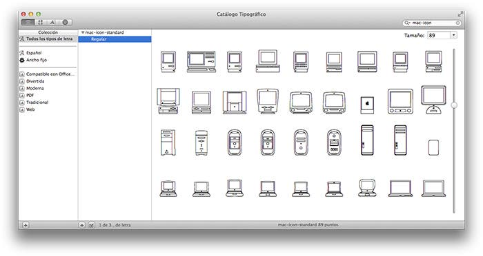 Tipografía conmemorativa de los 30 años Macintosh