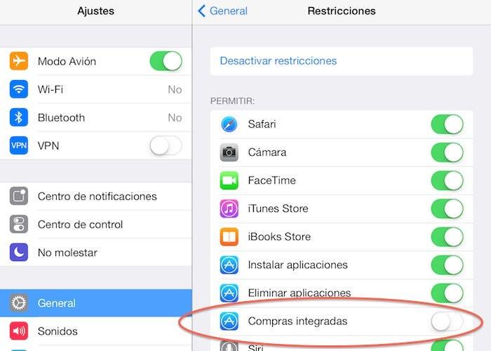 Restricción de compras integradas en iOS 7