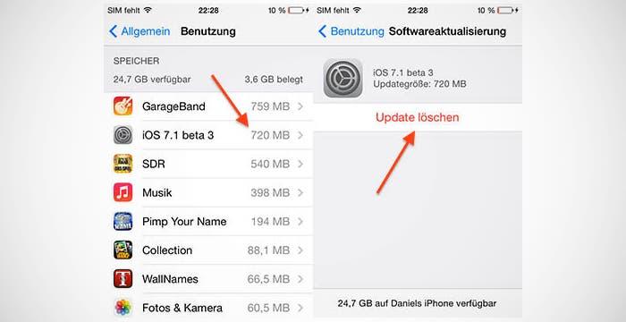 Eliminación de archivos de las OTA en iOS 7.1 beta 3