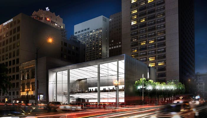 Render of the new San Francisco Apple Store