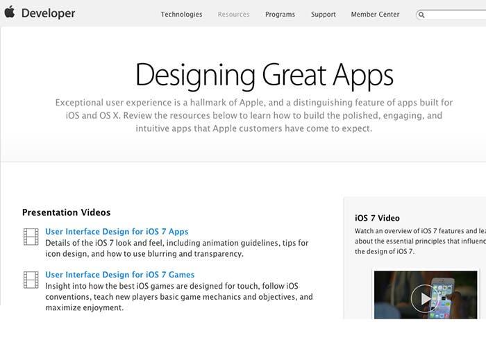Página de desarrolladores diseño