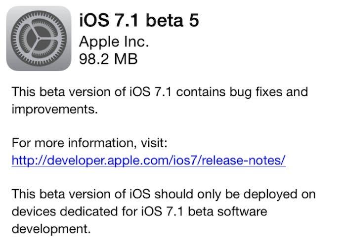 iOS 7.1 beta 5 Download