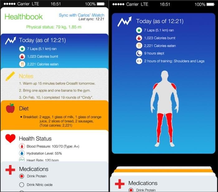 iOS 8 Healthbook mockups