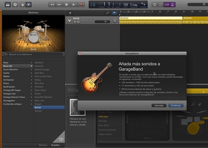 Captura de pantalla de Garageband 10.0.2