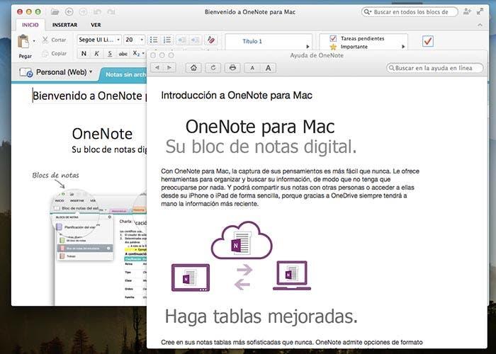 Pantalla de bienvenida de OneNote para Mac