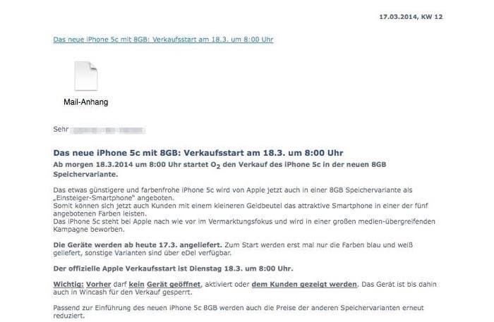 Email que confirma el rumor de un iPhone 5c de 8 GB