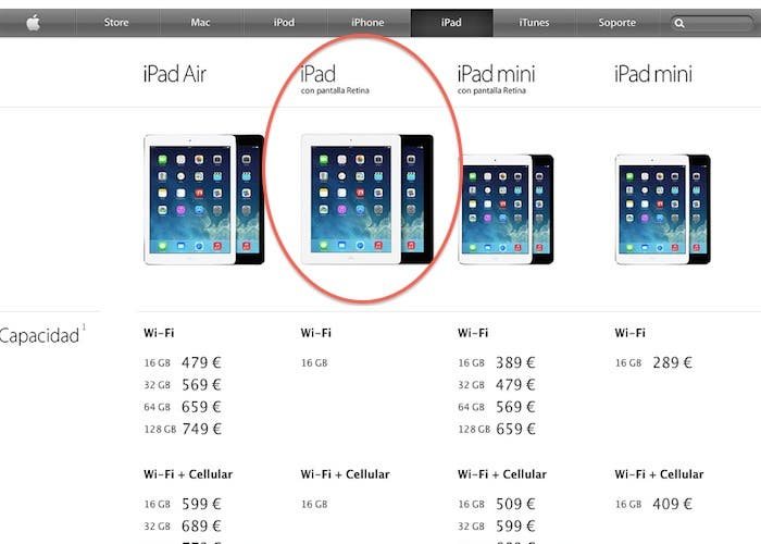 Apple Store iPad lineup