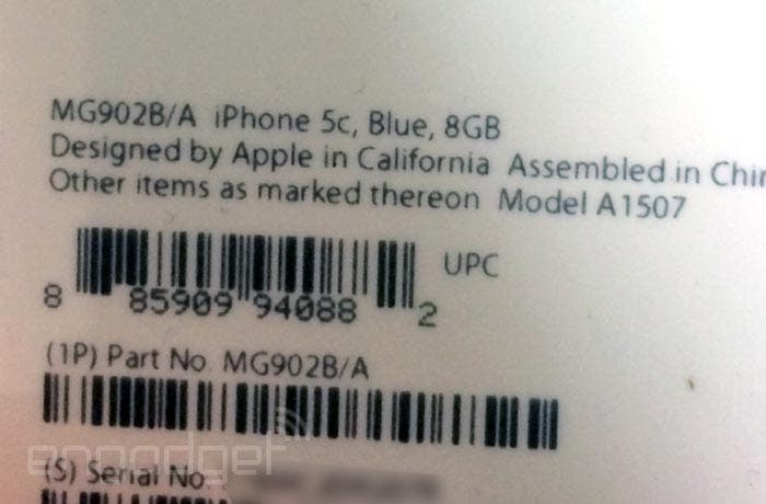 Etiqueta del iPhone 5c de 8 GB