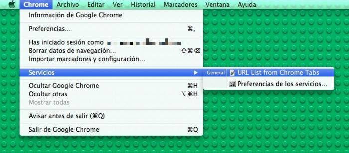 Servicio en Google Chrome