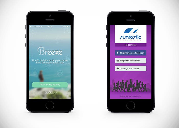 Breeze y Runtastic Pedometer en iPhone 5s