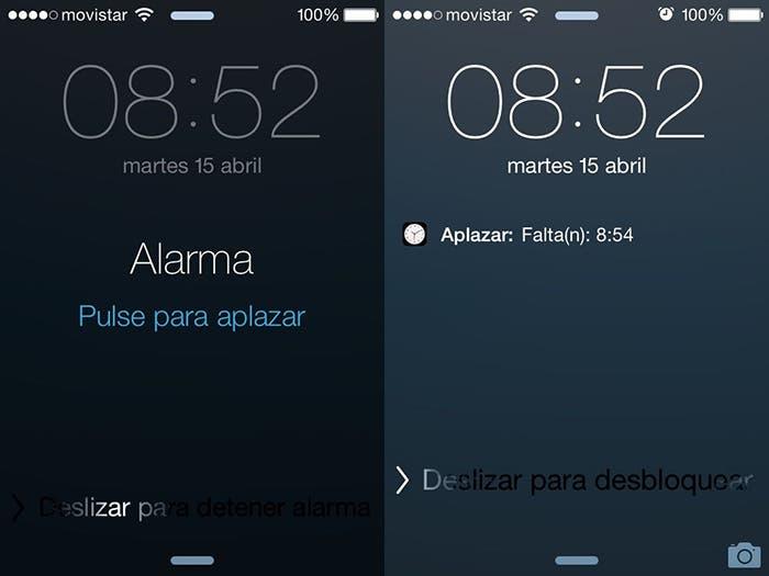 Pantalla bloqueo alarma iPhone