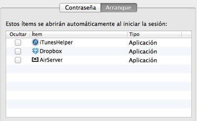 Aplicaciones en el arranque de OS X