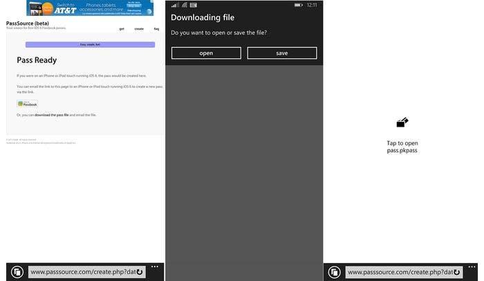 Capturas de Passbook funcionando en Windows Phone