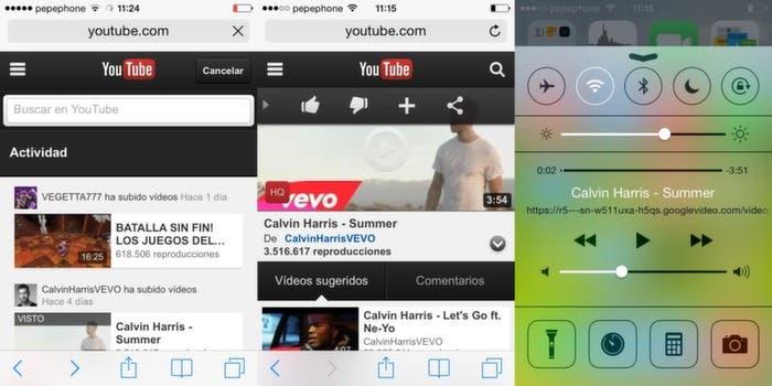 Safari y centro de control para Youtube