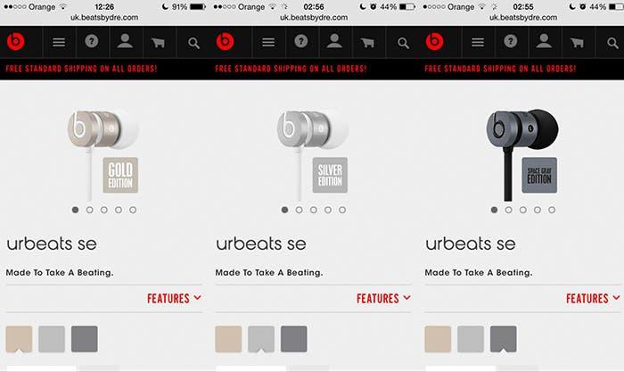 Auriculares Beats Space Grey, Silver y Gold.