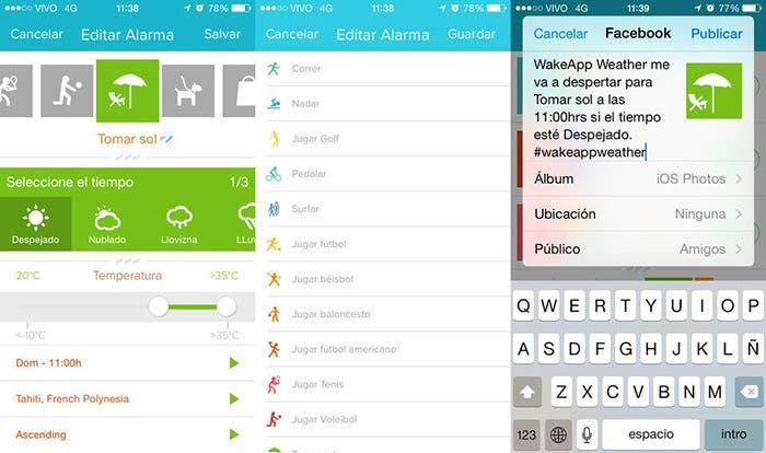 WakeApp Weather en ejecución