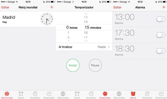 Reloj, aplicación nativa de Apple