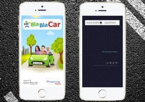 Uber y BlaBlaCar en iPhone 5s
