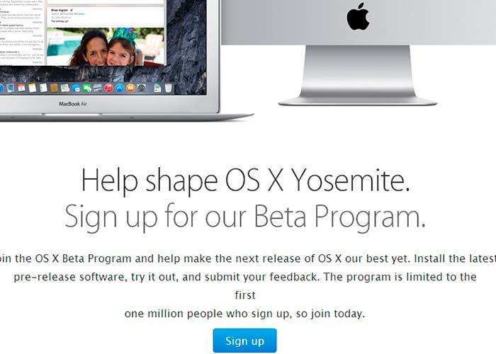 Página web para descargar beta de Yosemite OS X