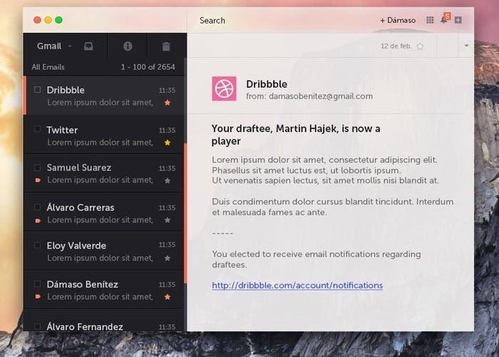 Concepto de la aplicación Gmail para OS X Yosemite