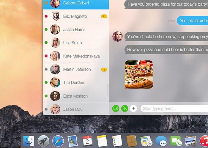 Concepto de la aplicación Skype para OS X Yosemite